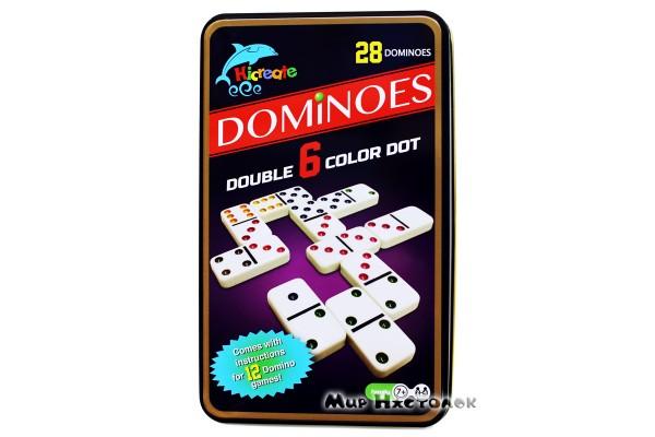 Настольная игра Домино в жестяной коробке (цветное)
