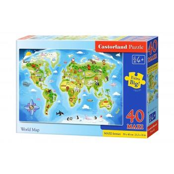 Пазл Castorland Карта мира, 40 деталей MAXI